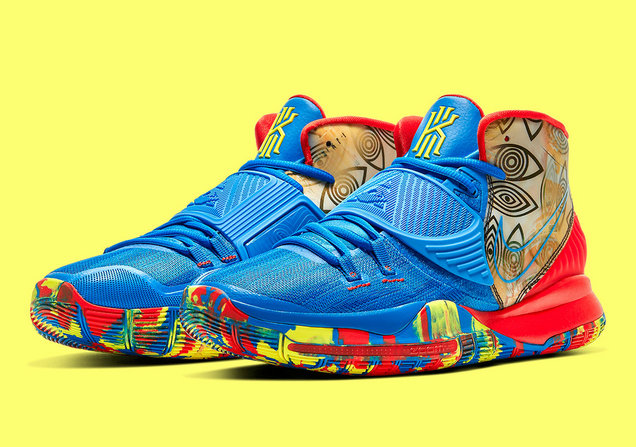 2020 Wholesale Cheap Nike Kyrie 6 Pre-Heat Guangzhou Photo Blue Multi Color Bleu Photo Couleur Multiple CQ7634-409