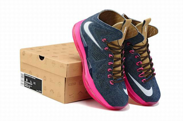 Cheap Wholesale Lebron 10 Cork Pink Blue Brown
