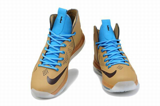 Cheap Wholesale Lebron 10 Cork Suede Blue Brown White