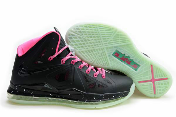 Cheap Wholesale Lebron 10 Womens Black Green Pink