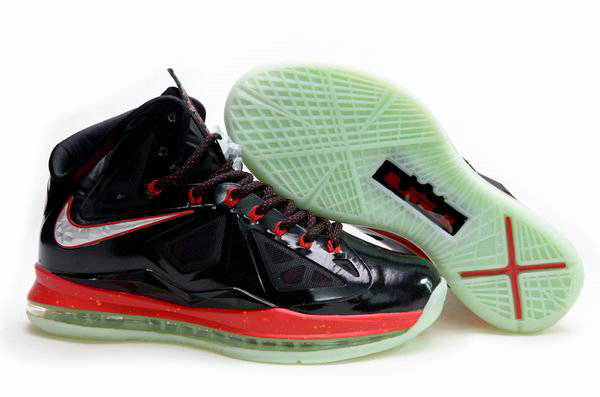 Cheap Wholesale Lebron 10 Womens Black Red Green Silver