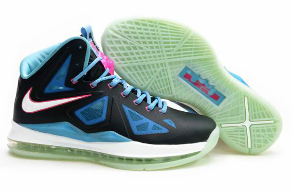 Cheap Wholesale Lebron 10 Womens Blue Black Pink White