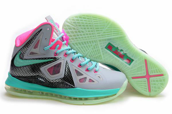 Cheap Wholesale Lebron 10 Womens Grey Green Pink Black