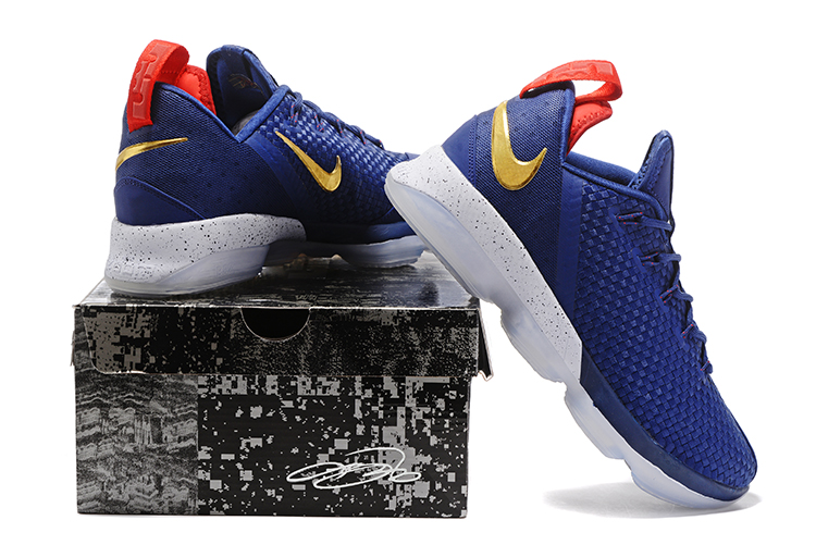 Cheap Wholesale Lebron 14 Low Gold Red Blue White Basketball Shoes