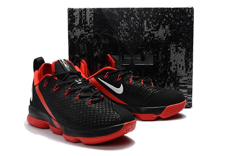 Cheap Wholesale Lebron 14 Low Red Black White Basketball Shoes