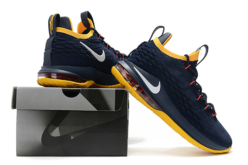 3a3cef784d87c Cheap Lebrons Nike Lebron 15 Low Navy Blue Yellow White Red - China ...