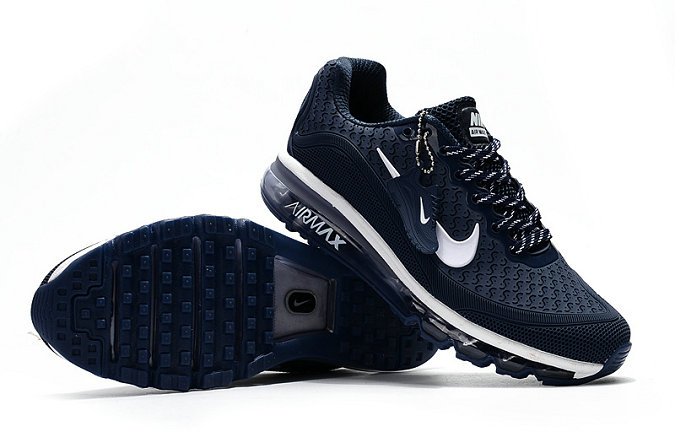 Cheap Wholesale Nike Air Max 2017 Mens Rubber Patch Navy Blue White