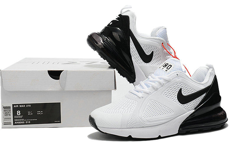 Wholesale Cheap Nike Air Max 270 Running Shoes Rubber Label White Black