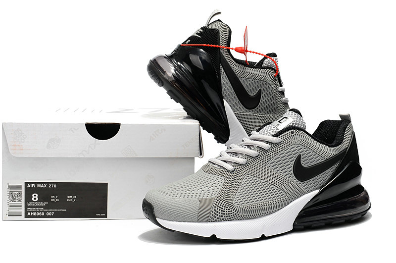 Wholesale Cheap Nike Air Max 270 Running Shoes Rubber Label Wolf Grey Black White