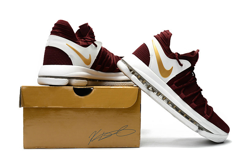 Cheap Wholesale Nike Kevin Durant 10 X Sneakers Yellow White Gold Wine Red