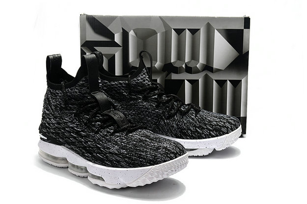 Cheap Wholesale Nike Lebron 15 Black Grey White