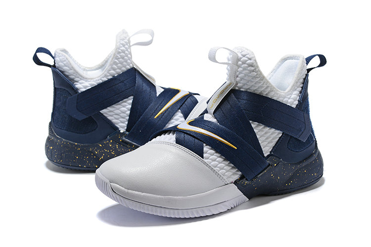 0ccf86b5141 ... Cheap Wholesale Nike Lebron Soldier 12 Navy Blue White Yellow ...