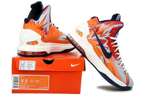 Cheap Wholesale Nike Zoom KD 5 V Orange Red White Blue
