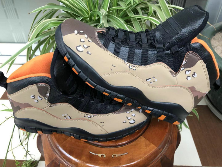 Wholesale Cheap Nikes Air Jordans 10 Desert Camo Rattan Black-Black-Dusted Clay 310805-200