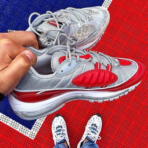Cheap Wholesale Supreme x NikeLab Air Max 98 Red White