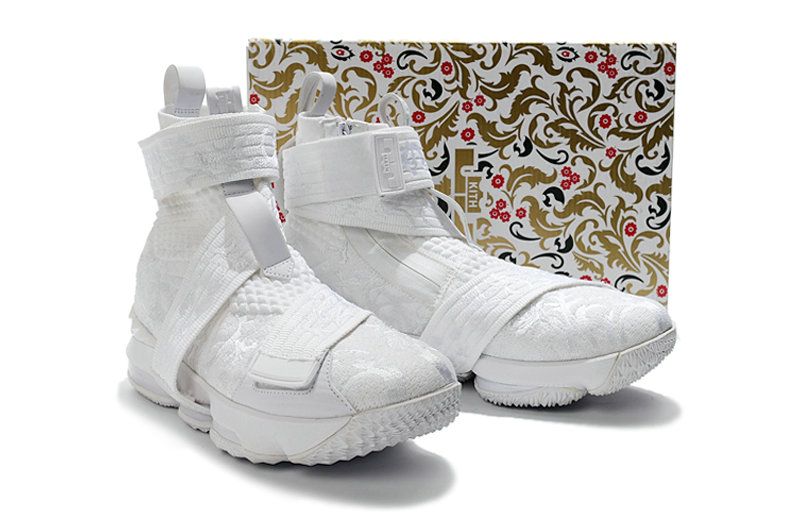 Cheap Wholesale KITH x Nike LeBron 15 Lifestyle City of Angels Triple White Mens Basketball Shoes