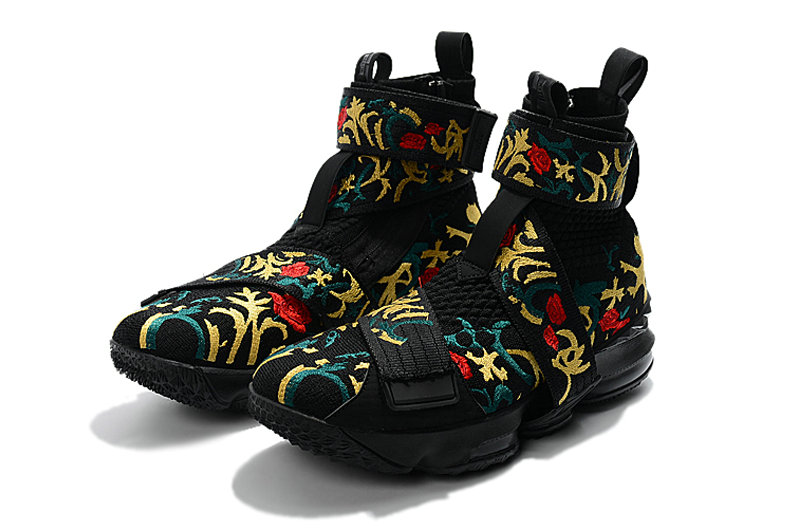 4caa35d88a988 ... Cheap Wholesale KITH x Nike LeBron 15 Lifestyle Kings Crown Black Gold  Floral Mens Basketball Shoes ...