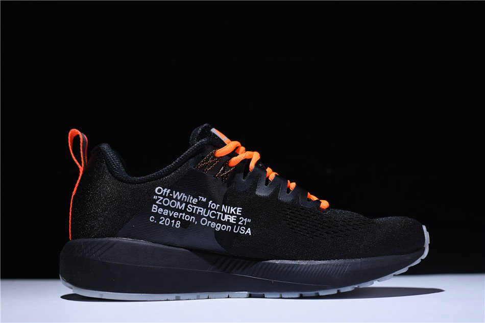 ... Cheap Wholesale Mens Off-White Virgil Abloh x Nike Air Zoom Structure 21  Black Orange ... 39dd77855e