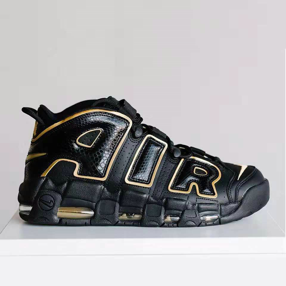 Cheap Wholesale Nike Air More Uptempo France AV3810-001 Black Metallic Gold