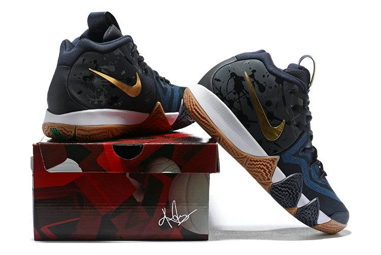 watch 8a65b 4c888 Wholesale Nike Kyrie Irving 4 Cheap Black Gold White Navy ...